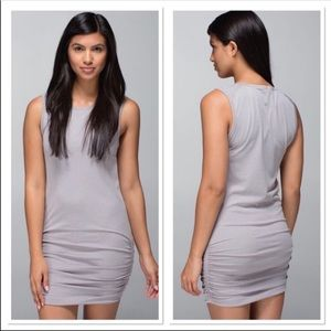 LuluLemon In the Flow Ruched Gray Dress 10